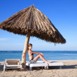 Beauty girl enjoying beach resort — Stok Fotoğraf #3424641