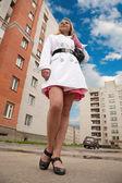 Girl at city street — Stock Photo