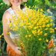 Woman with yellow camomile — Stock Photo