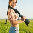Girl with pneumatic air rifle — Stockfoto #3575642