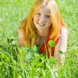 Teenager girl  at meadow grass - Stock Photo