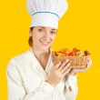 Stock Photo: Female cook with pastry