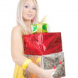 Girl with coloured present boxes over white — Stock Photo #3576419