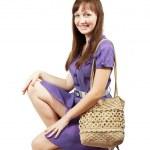 el çantası ile kız — Stok fotoğraf