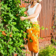 Stock Photo: Senior woman in the yard