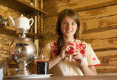 Girl with traditional samovar — Stock Photo