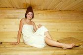 Girl in a sauna — Stock Photo