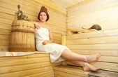 Girl taking steam bath — Stock Photo