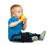 Boy with pear — Stock Photo