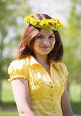 Brunette girl in chaplet — Stock Photo