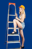Sexy female builder — Stock Photo