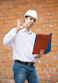 Happy foreman with documents — Stock Photo