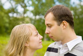 Couple in love outdoors — Stock Photo