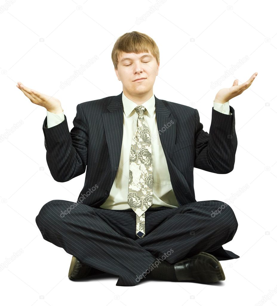 Businessman is sitting in yoga position. Isolated over white — Stock Photo #3578457