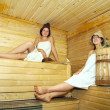 Young girls at sauna — Stock Photo