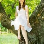 ağaç üzerinde oturan kız — Stok fotoğraf