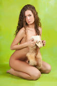 Nude girl with fox fur — Stock Photo