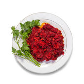 Salad from stewed beet — Stock Photo