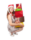 Girl with present boxes — Stock Photo