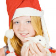 Girl in santa hat with rabbit — Stock Photo #3814570