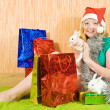 Girl  with Christmas gifts and rabbits - Stock Photo