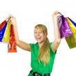 Happy girl holding shopping bags — Foto de stock #3814625