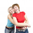 Happy girlfriends  over white — Stock Photo
