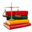 Justice concept, book and scales of justice — Stock Photo