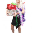 Royalty-Free Stock Photo: Blonde woman  with Christmas gifts