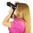 Stock Photo: Young photographer girl