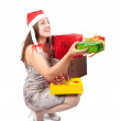 Nice girl holding coloured festive boxes — Stock Photo