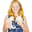 Teen girl with rabbit — Foto de stock #3816681