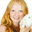 Girl with pet rabbit — Stock Photo