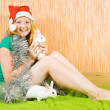 Stok fotoğraf: Girl with two pet rabbits