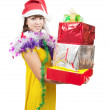 Royalty-Free Stock Photo: Girl in  dress with present boxes