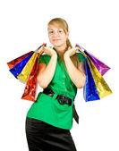Dziewczyna z torby na zakupy — Zdjęcie stockowe