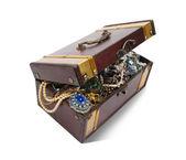 Treasure chest over white — Stock Photo