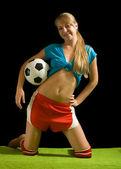 Giocatore di calcio femminile sexy — Foto Stock