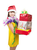 Girl in dress with present boxes — Stock Photo