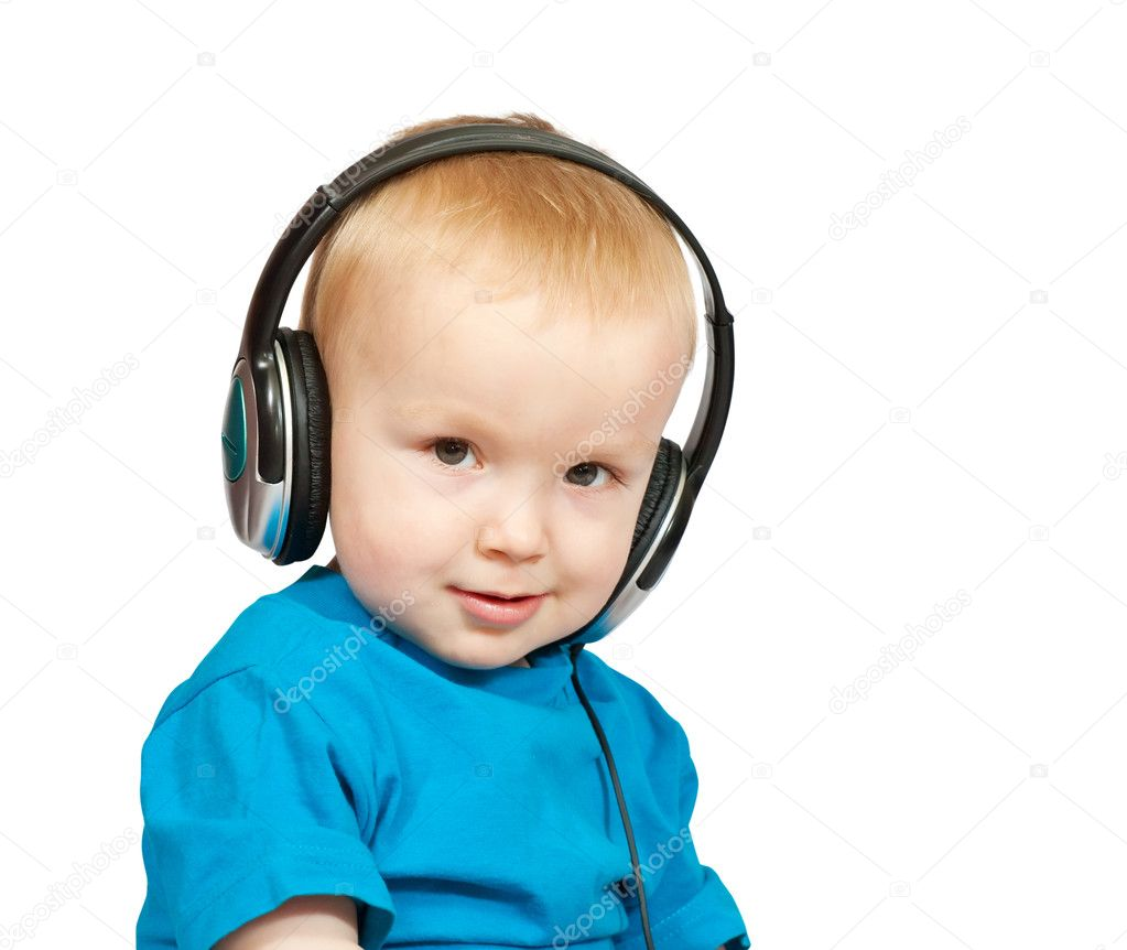 Portrait of 2 years old boy with headphones, isolated on white — Stock Photo #3814867