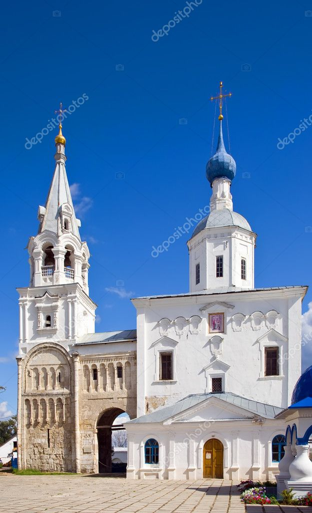 Orthodoxy monastery in Bogolyubovo in summer day (Russia) — Stock Photo #3815986