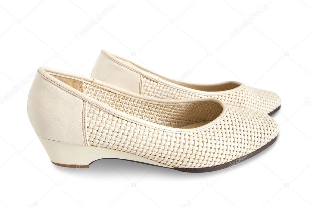 Beige female shoes isolated on white background  — Stock Photo #3816383
