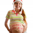Royalty-Free Stock Photo: Pregnant woman in santa hat