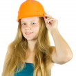 Stock Photo: Girl in hard hat