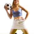 Sexy female soccer fan — Stock Photo