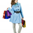 Brunette  girl with shopping bags — Foto Stock