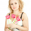 Woman with  tulip flowers — Foto Stock