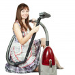 Stock Photo: Girl in with vacuum cleaner