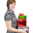Girl with present boxes — Stock Photo #3831124