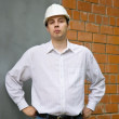 Builder  in hard hat — Stock Photo